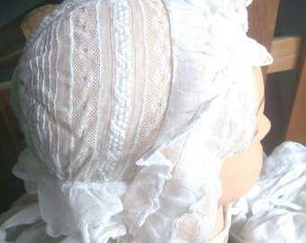 Victorian Ruffled Bonnet Lace Long straps Handmade French White Sheer Cotton Clothing for Costumes #sophiladydeparis