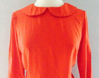 Red peter pan collar 3/4 sleeve on trend dresses