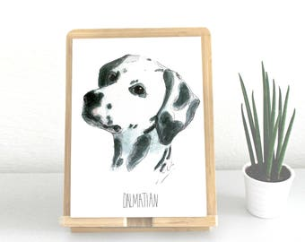 Dalmatian, Dalmatian print, print, illustration in watercolor, sheet A5 or A4