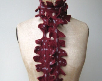 Felted scarf\/ jewel burgundy red with grey accents