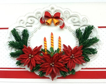 Handmade 3D Christmas card/ Merry Christmas  card/Quilling/Quilled/ Poinsettia/Christmas candles