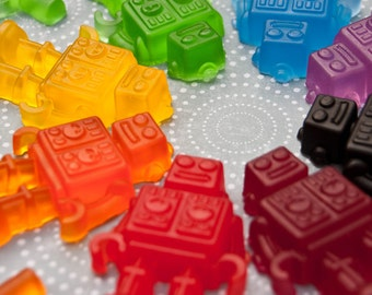 Rainbow Robot Soap Favors - Pick Your Color and Scent - Set of 10