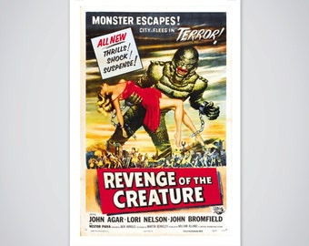 Revenge of the Creature Movie Poster, Vintage 1955 Horror Movie Print 18x24 inch