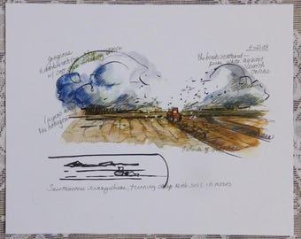 Farm Sketch, Hertford NC, tractor art, farming art, field sketch, sketchbook page, artist notes