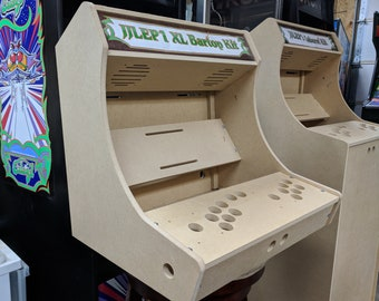 Easy to Assemble 2 Player XL bartop / tabletop arcade cabinet DIY kit w/ marquee holder flat pack mdf HAPP joystick mounting pattern