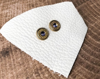 Tanzanite Brass Bullet Stud Earrings  // Bullet Earrings // Ammo Jewelry // Bullet Jewelry // Ammo Earrings // 9mm Bullet