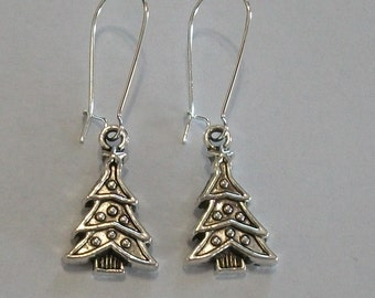 Cute Antique Silver Christmas Tree Earrings
