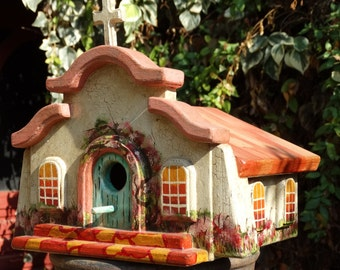Mission Bird Abode - Painted Handmade Wooden Bird House