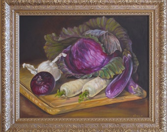 Still Life with a Red Cabbage and Vegetables, Kitchen Still Life