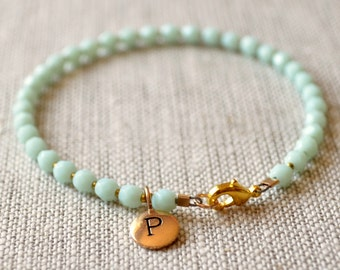 Mint Green Bracelet, Beaded, Simple Gold Jewelry, Summer, Bronze Initial Charm, Personalized, Bridesmaid, Wedding