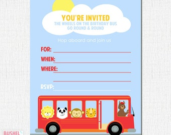 PRINTABLE Wheels on the Bus Party Invites - #DIY #Digital #FILE (instant download)
