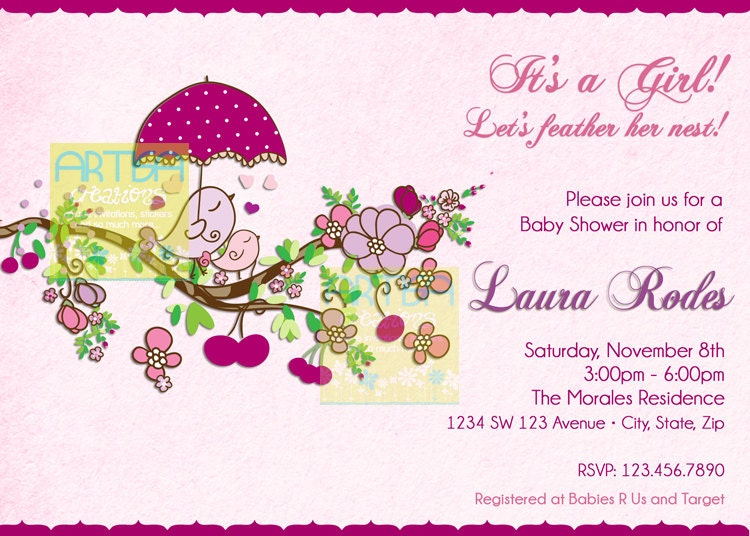 Spring birds baby shower invitation baby girl birds baby zoom filmwisefo Image collections