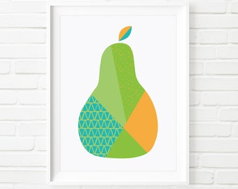 Printable Art, kids prints, Scandinavian print, kids printable, pear print, fruit print, kids art, nursery art, childrens art,  pear art