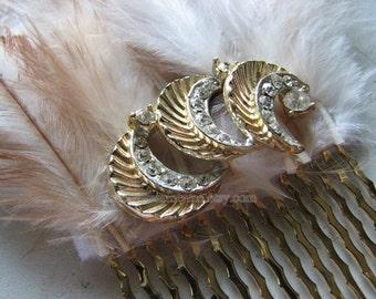 Rhinestone hair comb   moon headpiece   vintage   gold hair piece   decorative   Final Sale