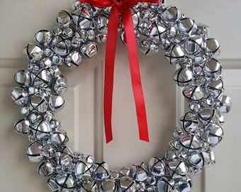 Silver Jingle Bell Holiday Wreath | Christmas Wreath with Multi-Size Real Jingle Bells | Winter Wreath in Various Sizes on Wire Frame