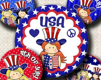 INSTANT DOWNLOAD 4th of July American Girl (591) 4x6 Bottle Cap Images Digital Collage Sheet for bottlecaps hair bows ... bottlecap images
