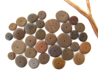 Rock Donut Beads Drilled Stone Spacers Beach Stone Beads Mediterranean Natural Stone Beads Diy Jewelry Pairs SMALL BROWN WHEELS 11-22 mm