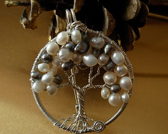 White and Grey Freshwater pearls Sterling silver Tree of Life Pin/Pendant  -Symbol feminine wisdom - Handmade- 2 in 1
