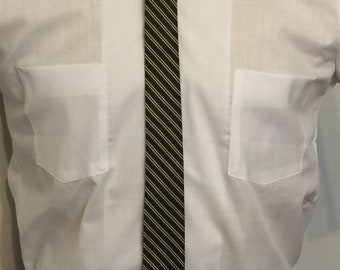 Vintage MENS Carson Pirie Scott brown, black & silver diagonal striped silk super skinny tie, circa 50s-60s