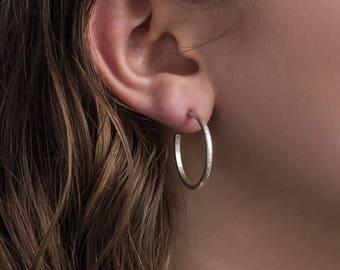 25mm Sterling Silver Hoop Earrings, Narrow