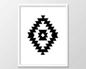 Southwestern Art Printable, Navajo Art, Ikat Art Print, Aztec Print, Nordic Art Print, Geometric Print, Tribal Art, Black and White
