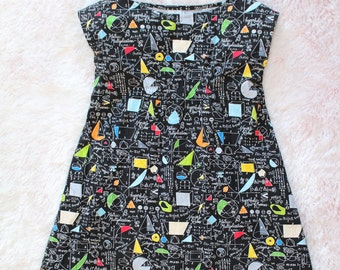 science dress, tunic dress, little girl, science gift, math dress