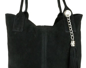 Italian Suede Leather Handbag Boho Laptop Tote Bag  -  BLACK