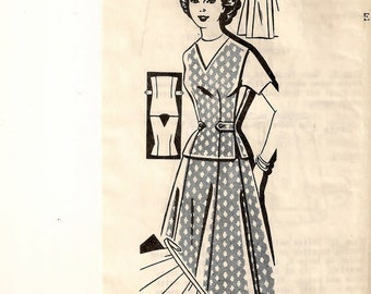 """A V-Neck, Pullover, Side Tab-Button Vest, & Self-Belt, Buttoned Tab Wrap Skirt Pattern for Women: Retro Size 12, Bust 32"""" • Mail Order 1-418"""