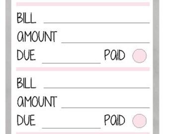 Monthly Bills Stickers (4) (planner stickers)