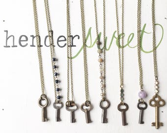 Old Skeleton Key Necklace. BRASS Hendersweet
