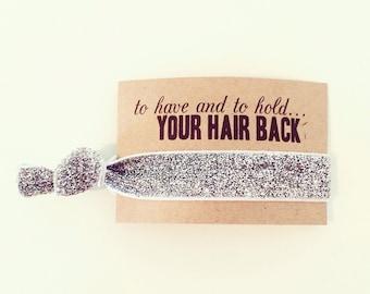 SALE Silver Glitter Favor | Bachelorette Party Hair Ties Favors, Silver Sparkle Hair Ties, Wedding Bridal Shower Favor, Bridesmaid Gift Box