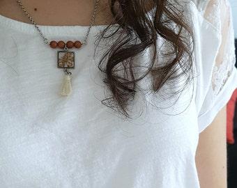 Terrarium- Bohemian necklace - Orange flower in square pewter bezel, goldstone beads and beige tassel, gift idea, trending jewelry