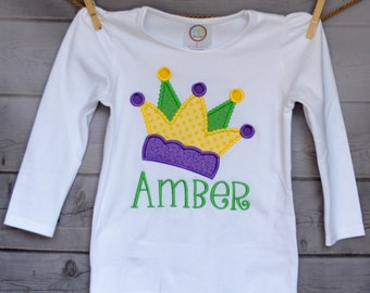 Personalized Mardi Gras Jester Hat Crown Applique Shirt or Bodysuit Girl or Boy