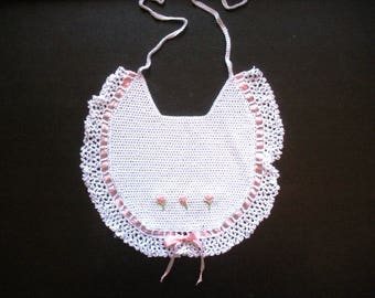 Victorian Baby Bib, Hand Crochet Baby Bib