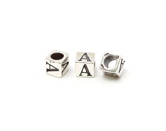 Alphabet Beads Sterling Silver 6mm Alphabet Blocks A - 1pc (3194)/1