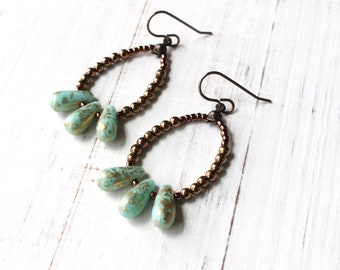 Aqua teardrop earrings, Turquoise teardrops, Beaded Hoop Earrings, antique brass, Boho style, dangly earrings, vintage inspired, Gypsy Style