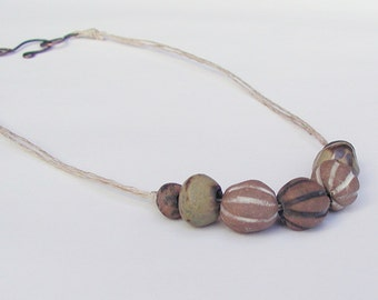 "Rustic Stoneware Bead 18"" Necklace - Artisan Beads - White, Black, Green, Brown, Stripe"