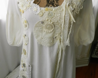 Embellished Womans Top Beige Size small Shabby Chic Romantic Free Shipping