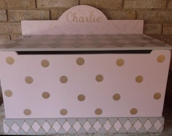 Pink and silver, Grey, Benches & Toy Boxes, Toy Chest, wooden toy box, personalized, hope chest, toy boxes girls, Storage