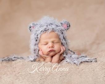 Baby Hat Newborn Hat, Photography Prop, Knit Hat, Baby Knit Hat, Newborn Baby Hat, Litlle Mouse