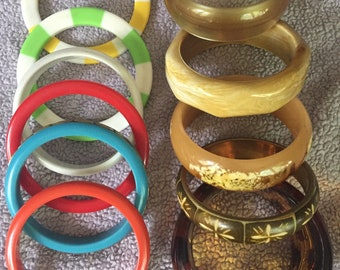 Wholesale Vintage Plastic Bangle Bracelet Collection ELEVEN Assorted Mid Century Bangles Resell or Collect Lucite Metal Carved