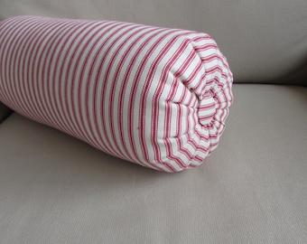 RED TICKING decorative accent lumbar throw pillow 6x14 6x16 6x18 6x20 6x22