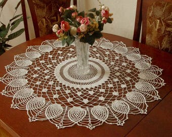 Large crochet doily White vintage crochet doilies Pineapple crochet doily Crochet decoration Lace decor 30 inches 403
