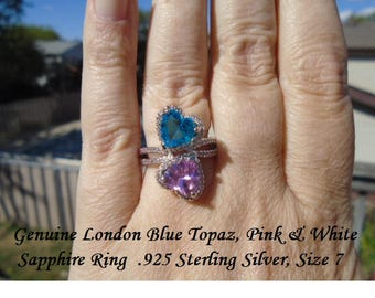 London Blue, Pink & White Sapphire Ring Size 7