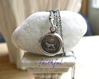 "Wax Seal Necklace, ""FAITHFUL""  Best Friend - Dog Pendant, ""UNCONDITIONAL Love"" Talisman, Jewellery, Dog Charm, Gift For Dog Lover, BFF"