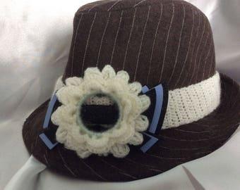 Large headband flower, crochet acrylic Hat clips