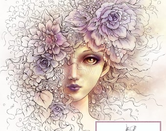 Instant Download - Digital Stamp - Veil of Petals - Beautiful Girl with Flowers - Fantasy Line Art Digi for Arts and Crafts - AuroraWings