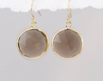 Smokey Quartz Earrings - Brown Quartz Earrings - Round Gemstone Earrings - Gold Earrings - Drop Earrings