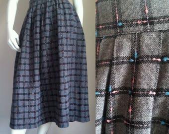 "sale --- Vintage 1980s Charcoal Gray Plaid Skirt, Pink & Aqua Flecks, 29"" Waist"