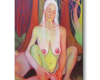 Metal Print Hecate Sacred Hag Pagan Chrone Wiccan Feminist Contemporary Nude Fine Art Print by Deenie Wallace
